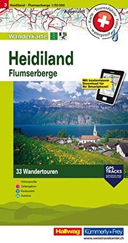 Heidiland, Flumserberge: Nr. 3, Tourenwanderkarte mit 33 Wandertouren, 1:50 000, mit kostenlosem Download für Smartphone Karten, Tourenführer, Fotos, ... Autobus (Hallwag Touren-Wanderkarten)