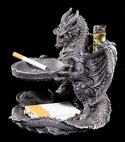 Aschenbecher Drachen Figur mit Feuerzeughalter und Ablage   Gothic Deko