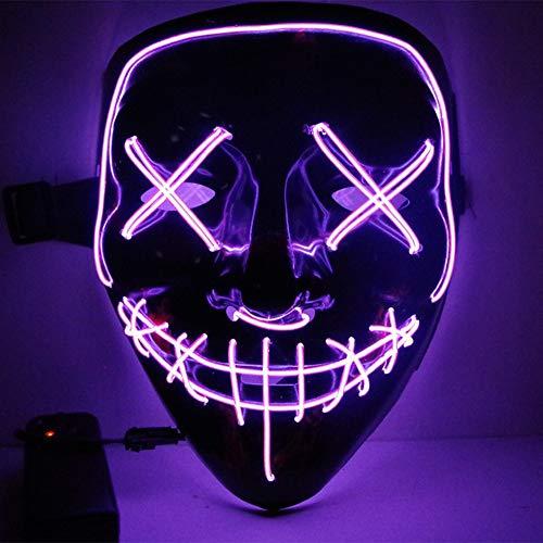 URMAGIC Halloween Masken Festival Party Cosplay LED Leuchten Maske Karneval Maske Halloween Accessoires Grimasse Maske Batterie Angetrieben(Nicht Enthalten)