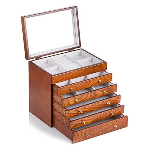 Schmuckkasten Schmuckschatulle schmuckkästchen schmuckaufbewahrung mit 5 Schubladen Spiegel -