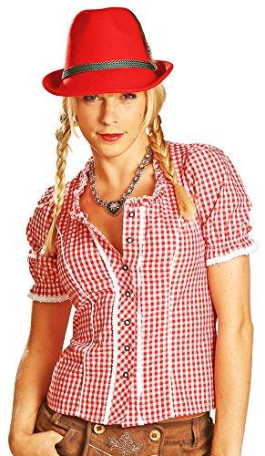 Trachtenbluse Daniela Rot kariert Gr. 42 - Schöne Karo Trachten Bluse für Damen