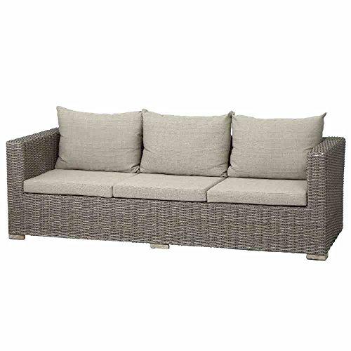 Siena Garden Lounge 3er Sofa Veneto, 84x228x67cm, Gestell: Aluminium, Fläche: Gardino-Geflecht in sepia, FSC 100%, Kissenbezug aus Polyester mit 250g/m² in beige