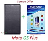 YuniKase (COMBO OFFER) for Motorola Moto G5 Plus / Moto G5 Plus - - - Leather Flip Case cover (Black) + Premium Screen Guard Tempered Glass Protector - - - ( Transparent )
