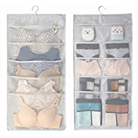 HerFav Hanging Storage Organiser with Large and Deep Pockets, Double-Sided Space-Saving Clothes Organiser for Small Wardrobe