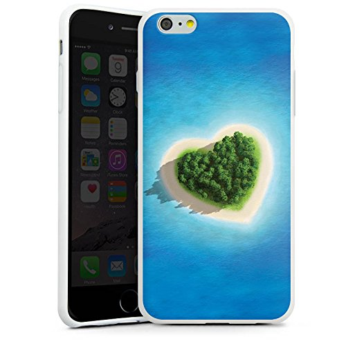 Apple iPhone X Silikon Hülle Case Schutzhülle Love Insel Muster Herz Silikon Case weiß