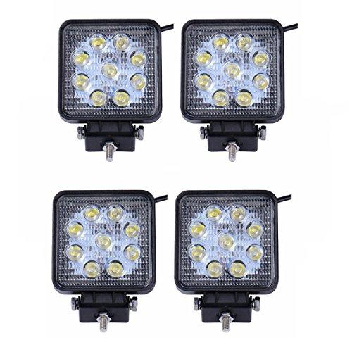 LARS360 4x 27W Quadrato LED Faro da lavoro, Fari per fuoristrada Faro anteriore,IP67 Impermeabile 12V 24V Luce retromarcia, Trattore per auto SUV ATV UTV