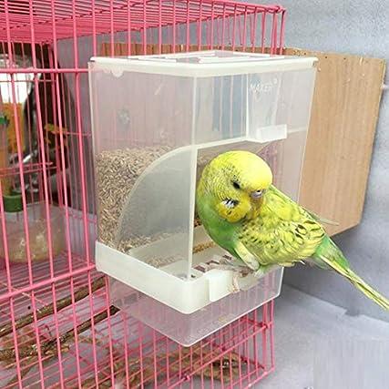Alimentatore automatico pappagallo antischiacciamento per uccelli per animali domestici Alimentatore per animali Distributore di mangime integrato antispruzzo Accessori per gabbie per parrocchetti