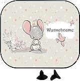 wolga-kreativ süßer Maus mit Name Auto SonnenSchutz und SonnenBlende für Baby und Kind personalisiert Wunschname (1 Stück)