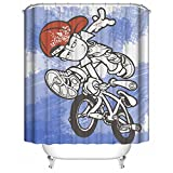 YAOFUTEE Duschvorhang Dekor,Creative Anime Hip Hop Boy with Bike Pattern Wasserdichtes Mehltau Polyester Gewebe Duschvorhang Badezimmer 60