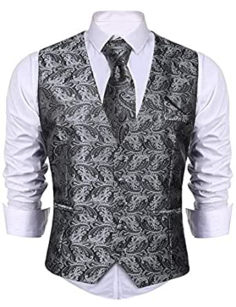 7781f2e1d iClosam Gilet Homme Mariage 3pieces Veste Homme Suit Ensemble sans Manche  avec Coffrets Cravate et Mouchoir Casual Mariage Business Slim Fit (sans ...