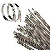 100 Stk. Edelstahl Metall Stahl Kabelbinder Kabel Binder Hitzeschutzband Auspuffband 4,6x300mm Praktisch