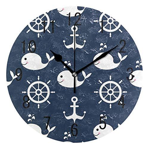 Domoko Home Decor Maritime Stimmung Rad Anker Fisch Acryl, Rund Wanduhr Geräuschlos Silent Uhr Kunst für Wohnzimmer Küche Schlafzimmer