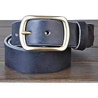 """HOMBRES cinturones estilo Retro cuero cuero de grano completo 100% correa de cuero para hombres puro cobre hebilla con una perforadora de Correa Metal bono 1,4"""" ancho todos tamaños Ideal de Navidad para hombres , black"""