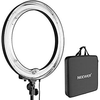 Neewer 75W (600W Equivalent ) 5500K Camera Photo  Ring Fluorescent Flash Light, Diameter 18 inches  Outer 14 inches Inner, with Carrying Case for Portrait, Photography and Video Shooting(Not Dimmable)
