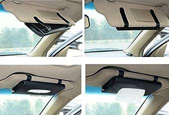 amiciKart Car Sun Visor Tissue Paper Box Case Auto Interior Decoration Accessories Holder (Black)