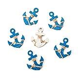 6 kleine blaue Holzanker MIT Klebepunkt: Maritime Deko Schiffsanker Anker Streuteile Streudeko Zierstreu Mini Tischschmuck Hochzeit Event Business...
