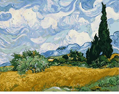 Van Gogh Sky Landschaft DIY Digitale Malerei Durch Zahlen Moderne Wandkunst Leinwand Gemälde Geschenk Für Kinder Wohnkultur 40X50 cm