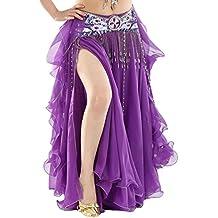 YuanDian Mujer Profesional Color Sólido Gasa Danza Del Vientre Alta Falda de Hendidura Swing Maxi Falda Ropa Danza Moderna (Sin incluir el cinturón)
