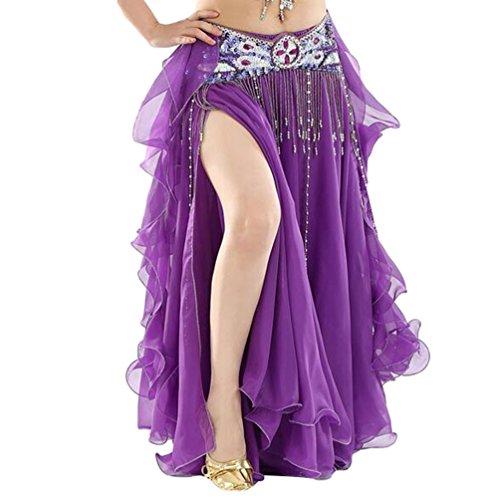 (YuanDian Damen Chiffon Einfarbig Professionelle Tänzerin Bauchtanz Spliss Öffnungs Swing Long Rock Tanzkostüm Bauch Dance Kleid Dunkel Violett (Nicht inbegriffen ist Gürtel))