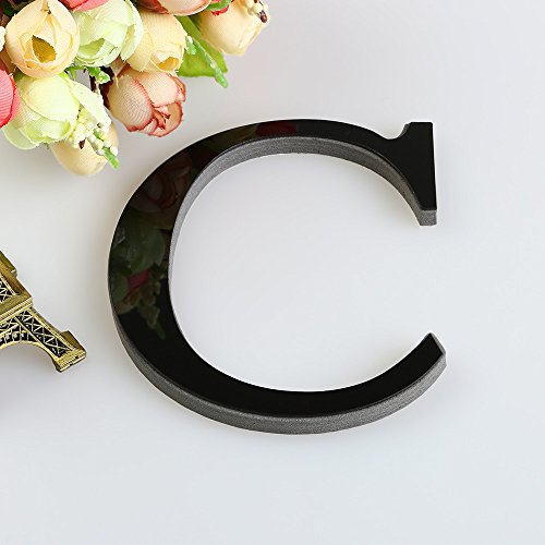 3D DIY 26 Letters Mirror Sticker, Indexp Creative Symbol Acrylic Creative Home Decorative Art Window Wall Decals (Black, C)