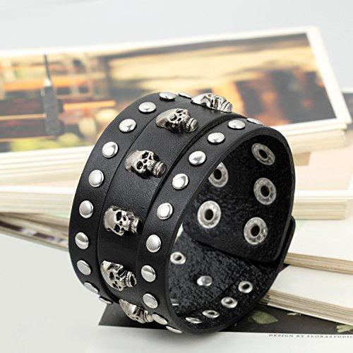 Flongo Large Bracelet Cuir Corde Alliage Lien Poigent Rivet Tête de Mort Crâne Punk Rock Réglable Convient 19cm-22cm Couleur optionnel Bijoux Cadeau pour Homme Noir