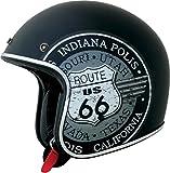 AFX fx-76Route 66flach schwarz Open Face Low Profile Motorrad Helm Retro Vintage