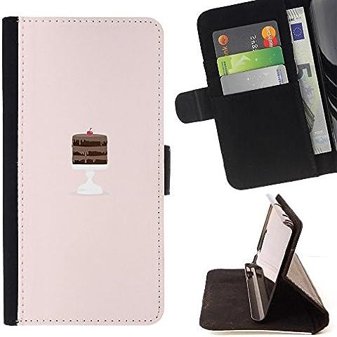 Momo–Teléfono móvil/Cartera de piel cubierta de la caja con ranuras para tarjetas–Tarta de Chocolate Rosa Chef Moldes para tartas–Funda para Samsung Galaxy S6