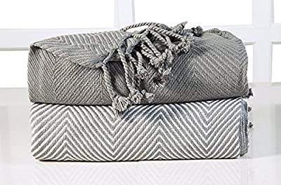 EHC lujo Chevron algodón Single manta de sofá, gris, 125x 150cm, pack de 2