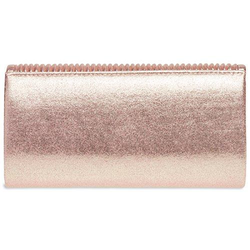 Caspar Ta399 Piccola Elegante Borsa Da Sera Lustre Pochette Lucida Con Overflow In Oro Rosa