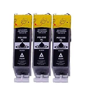 Lot de 3 Cartouches d'Encre pour Canon PGI-550 PGI-550, directement applicable - Canon Pixma iP7250 MG5450 MG6350 MX725 MX925 (Noir)