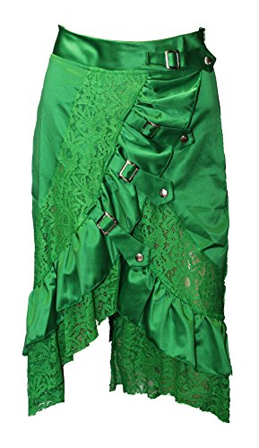 BSLINGERIE® Damen Zigeuner Hippie Steampunk Knöchellänge Rock Kleidung Röcke (L, Grün) (Zigeuner Kleidung Rock)