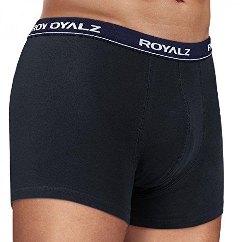 ROYALZ Unterhosen Herren Boxershorts 10er Set klassisch für Sport und Freizeit, 10er Pack (95% Baumwolle / 5% Elasthan) 10 x Schwarz / Bund - Dunkelblau