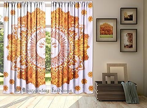 Exklusive Sun Moon Mandala Vorhang Panels–2ethnischen Tab Top indische Baumwolle