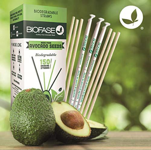 Pajitas biodegradables Biofase Premium, paquete de 150 unidades de des