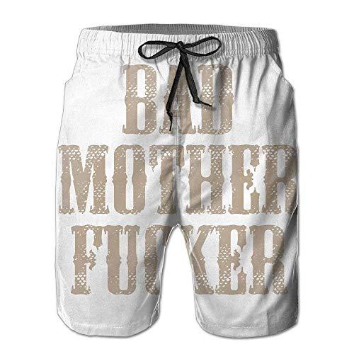 Jiger Men Bad Mother Fucker Summer Swim Trunk Board Short Beach ShortsL