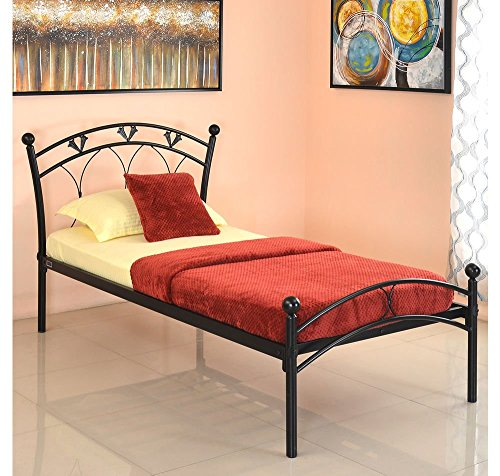 @home by Nilkamal Hydra Single Size Bed without Storage (Matte Finish, Black)