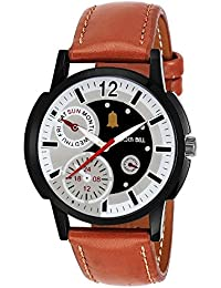 Golden Bell Original Chronograph Look Multicolor Dial Tan Brown Strap Analog Wrist Watch For Men - GB-641