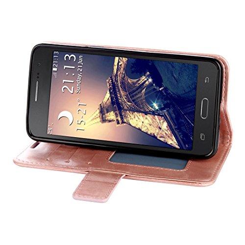 Samsung Galaxy G530 Cover Case HuaForCity® Portafogli Custodia in Pelle PU Copertina con Slot per schede Magnetica Flip Chiusura Stile del Libro Supporto Funzione Bumper Caso for iphone Samsung Galaxy Rose gold