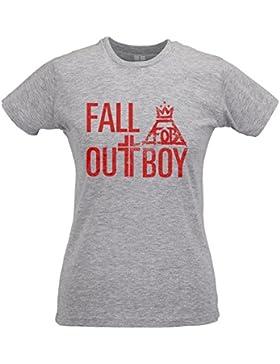 LaMAGLIERIA Camiseta Mujer Slim Fall Out Boy Big Text Red Print - T-Shirt Punk Rock 100% Algodòn Ring Spun