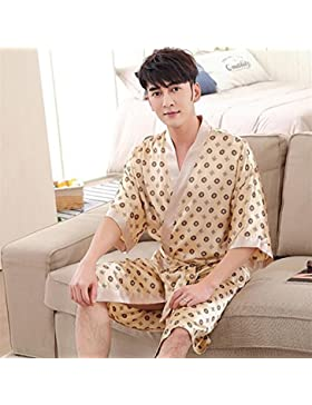 SUxian Gran Albornoz de los Hombres Mangas Medias Albornoz patrón de Puntos Fresco camisón Pijama