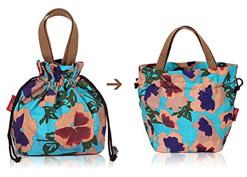 Fortuning's JDS® Stampe della tela di canapa di vendita calda donne coulisse borsa secchiello tote blu