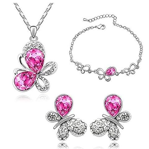 Mafmo Mode Papillon Rose vif parures de bijoux–Collier et boucles d'oreilles et bracelet pour Juniors Filles
