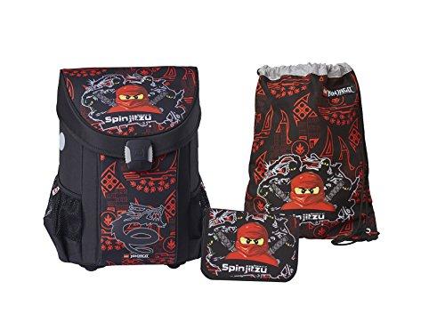 LEGO Bags Schulranzen Set Easy, 3 teilig, Ranzen nur 790 g, Schulset mit Lego Ninjago Motiv Team Ninja, Büchertasche ca. 40 cm, 22 Liter