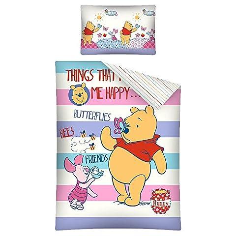 Parure de lit bébé Winnie L'ourson Disney - housse de couette coton 100 x 135 cm