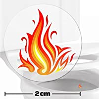10 x Flames Toilet Target Stickers - 2cm Wide - Cleaner Bathroom/Restroom Floor In A Flash With No Cleaning Products - Helps Improve Aim And Hit The Target - Toilet/Potty/Urinal Training Aid Aiming Reward - Suitable For Children, Toddlers, Boys And Adults