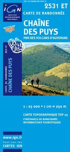 Top25 2531ET ~ Chaine des Puys Wanderkarte mit einem kostenlosen Maßstabslineal