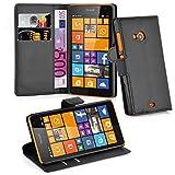Cadorabo Hülle für Nokia Lumia 535 Hülle in Phantom schwarz Handyhülle mit Kartenfach und Standfunktion Case Cover Schutzhülle Etui Tasche Book Klapp Style Phantom-Schwarz