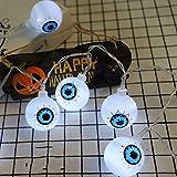 PGYZ Halloween-Serie LED dekorative Lichterkette Kürbis Geisterauge Spinne Lichterkette mit Batterie 1.5 m 10 Lichter - immer hell Doppelseitiges Geisterauge/warme Farbe