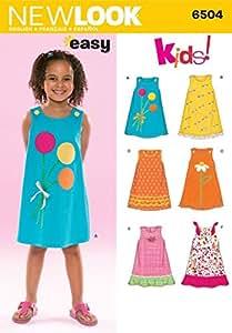 New Look Schnittmuster Nr. 6749 Kinder Kleider, Gr 3, 4, 5