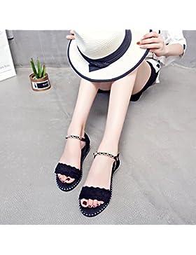 SDKIR-La parola retro-nero fondo piatto sandali, studentesse in estate anti-slip-ups basso con una piccola pendenza...